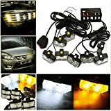 LED Warning Lights, Gliving Car Emergency Hazard Warning Strobe Light Flash Waterproof and Deck Decorative Lights for Front Grille Deck (White/Yellow)