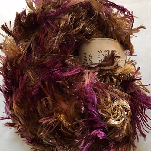 (Crystal Palace Splash #7180 Otter - Browns, Grape Feather Boa Short Eyelash Yarn 100 Gram 85 Yards)