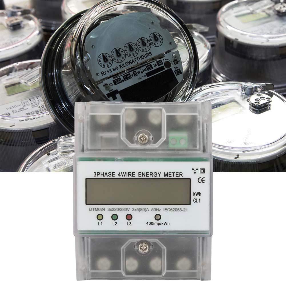 Medidor el/éctrico 220//380V 5-80A Consumo de energ/ía Watt/ímetro electr/ónico digital de energ/ía Medidor trif/ásico 4P KWh con pantalla LCD para medici/ón de electricidad