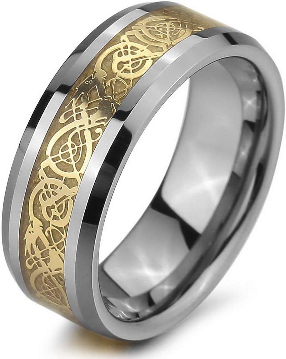 INBLUE Men's Tungsten Ring Band Silver Tone Black Irish Celtic Knot Dragon Wedding