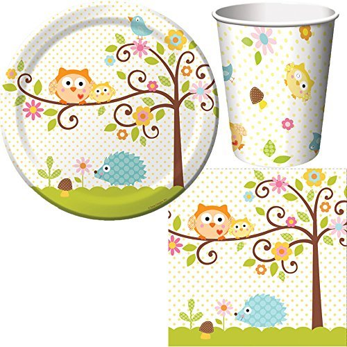 Creative Converting Happi Tree Party Supplies Pack Including Cups, Plates, and Napkins for 16 Guests