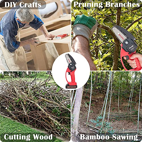 Mini Chainsaw, 4 Inch Cordless Electric Power Chainsaw, 24V 1500mAh Rechargeable Battery, One-Hand Portable Chainsaw with Security Lock for Tree Trimming and Branch Wood Cutting