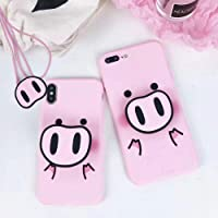 BONTOUJOUR iPhone X/iPhone XS Case, Super Cute 3D Piggy Pattern Serie Soft TPU Cover Pig Style Protector Case with Phone holder and Lanyard - Cute PIG Nose