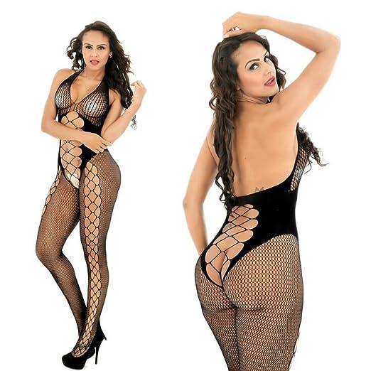 ca1b9b140f9 Womens Sexy Lingerie Crotchless Stocking Fishnet Suspender Teddy Nightie  Lace Bodystocking Babydoll Bodysuits Nightwear with Open