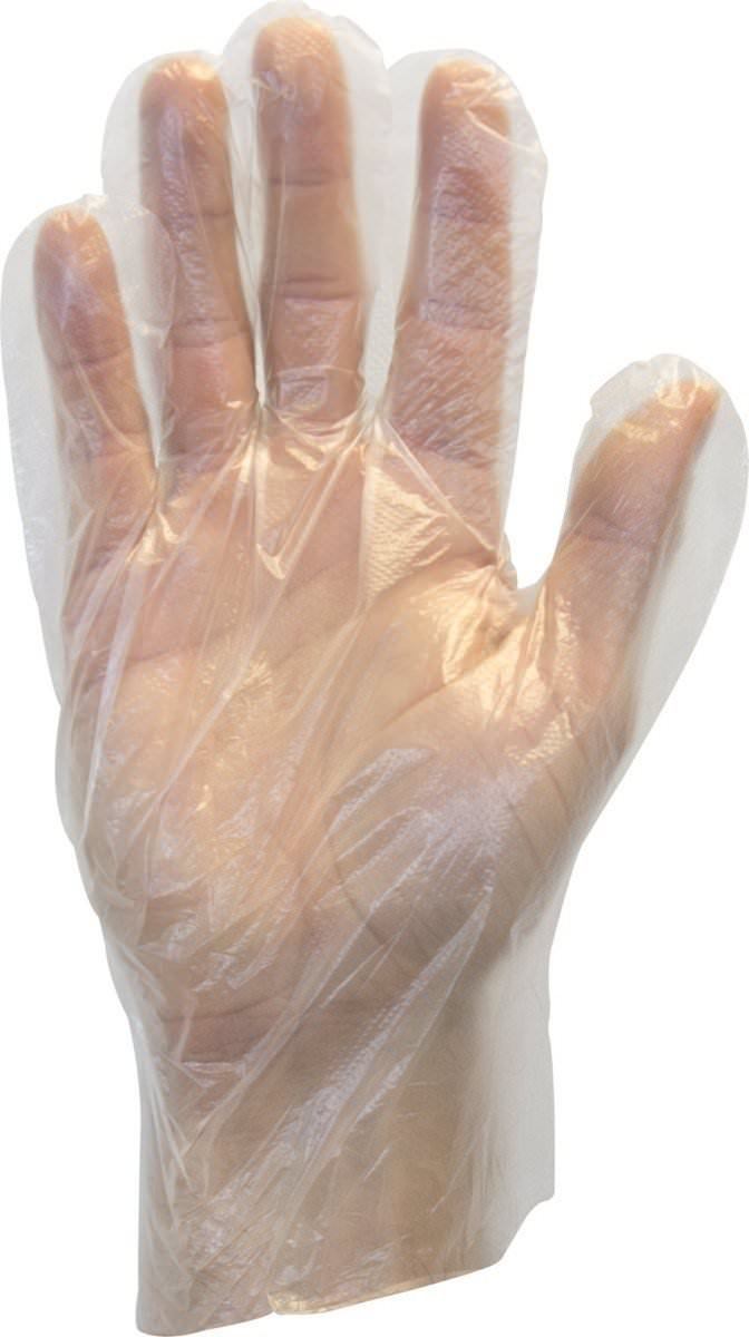 The Safety Zone QcZkCF GDPE-MD-E-100 Powder Free Polyethylene Gloves, Embossed Grip, High Density, Latex Free, Medium, Clear, 100 Count (4 Pack) by