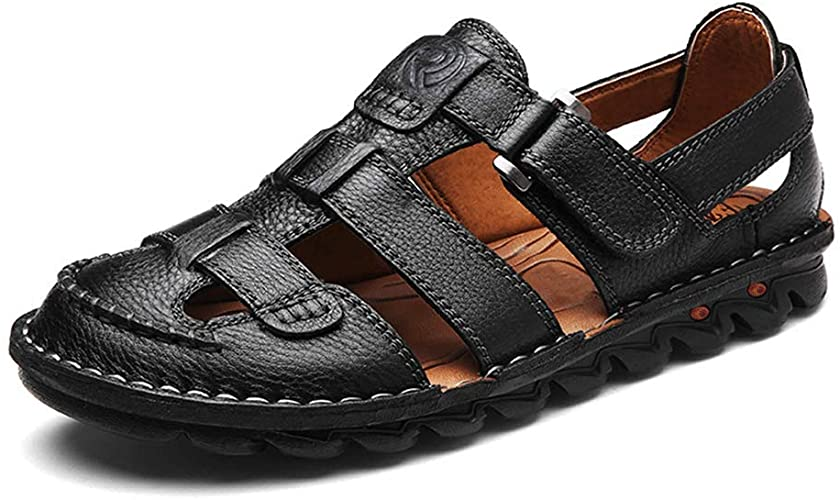 Closed Toe Sandals for Men 2019 Leather Outdoor Fishermen Hiking Walking Water Shoes Slides