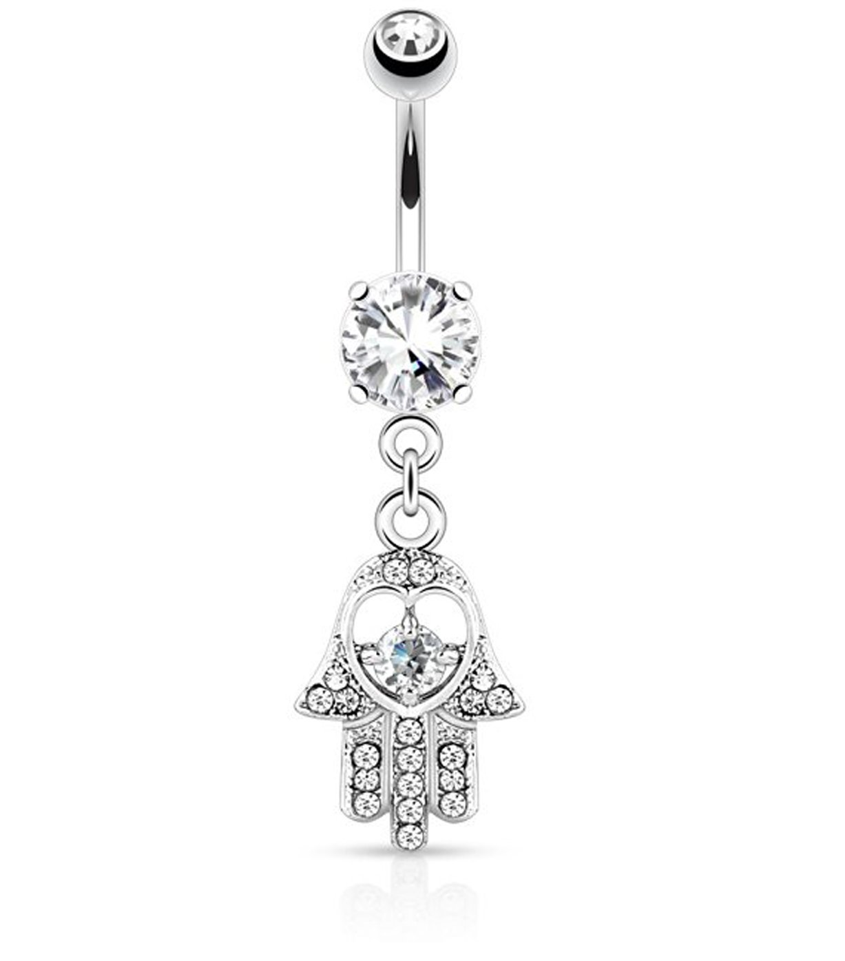 316L Surgical Steel 14 Gauge Belly Ring / Navel Button Piercing / Bananabell / Barbell With Hamsa Hand Pendant Decoration and Clear Crystals / Rhinestones VAGA 694263916385