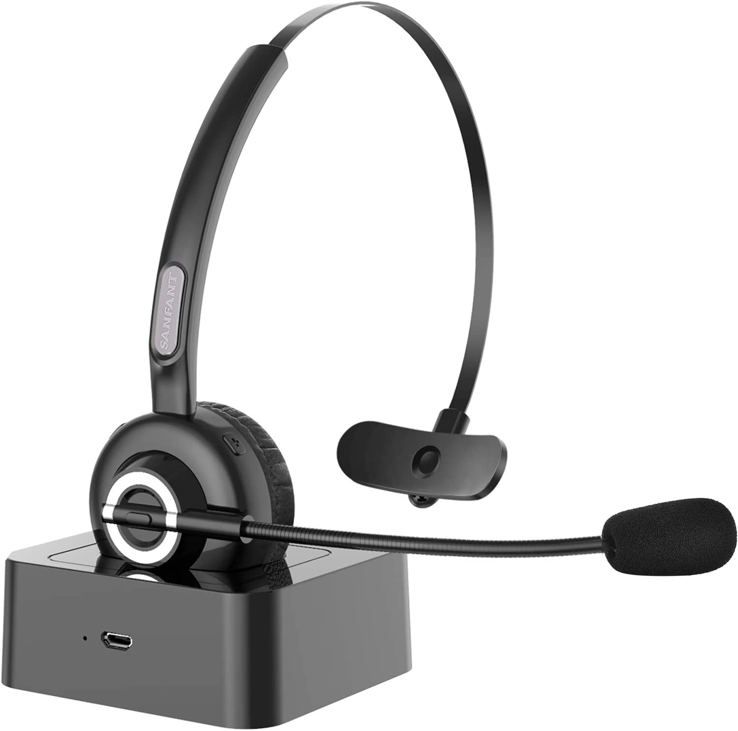 On-Ear Car Headset for Cell Phone//PC//Office//Car Newest V5.0 Sanfant Trucker Bluetooth Headset with Mic Noise Canceling /& Flexible 18-hrs Talk Time Office Wireless Headset Black Bluetooth Headset