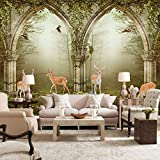 LWCX European Flower Vine Doors Foggy Forest Deer Photo Mural Background Wall Custom Size Wallpaper 300X210CM
