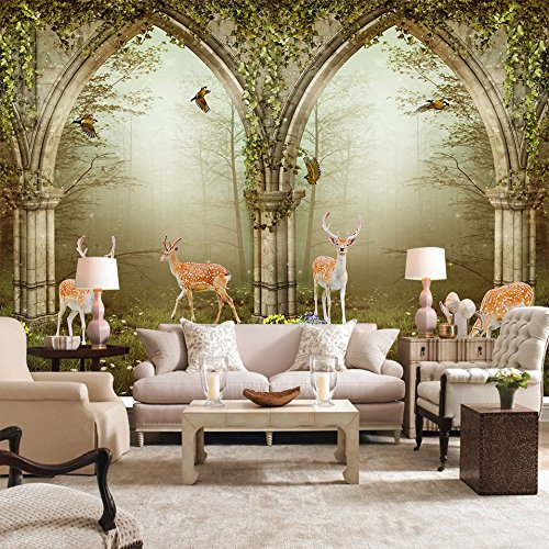 LWCX European Flower Vine Doors Foggy Forest Deer Photo Mural Background Wall Custom Size Wallpaper 300X210CM by LWCX