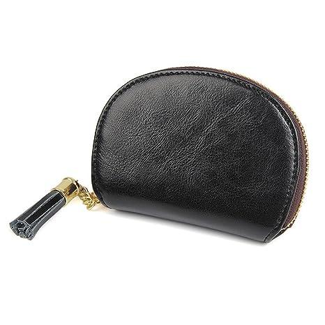 Cartera de mujer bolso de embrague señoras billete Portátil Mini Bolso redondo de cuero Bolso con
