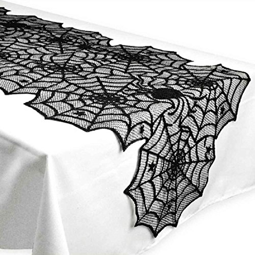 JunMu Happy Halloween Table Runner, 18 by 72 inch Black Spider Web Table Runners, Polyester Lace Table Runner for Halloween Party Favors Dinner Table Decor
