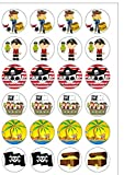 24 PRE CUT Pirate Themed Edible Wafer Paper Round Cake Toppers Decorations