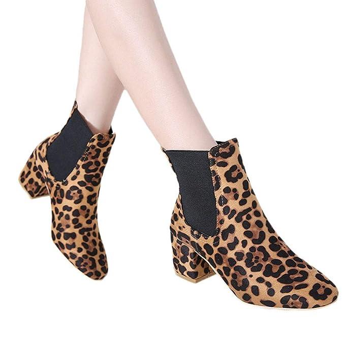 LILICAT❋ Moda Botines de Leopardo de Manga Botas de tacón Alto Gruesas con Botas de Mujer Estampado de Leopardo de Gamuza Mujeres Tacones Gruesos Botines ...