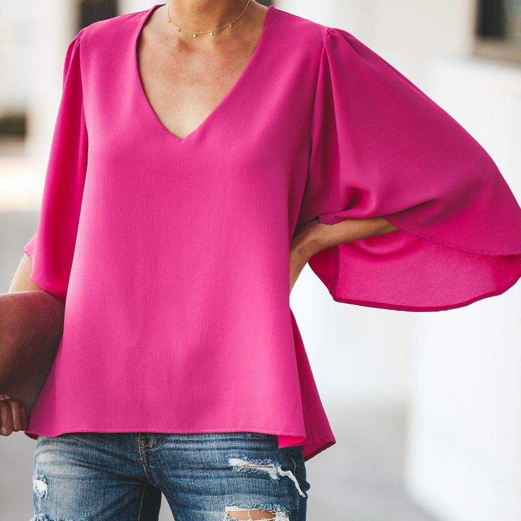 Pervobs Women Ladies Loose Swing Tunic Casual Half Sleeve V-Neck Soild T-Shirt Tee Blouse Tops(US: 6, Hot Pink) by Pervobs T-Shirt (Image #3)