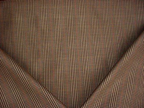 26H10 - Classic Espresso Platinum Raisin Red Houndstooth Tartan Plaid Designer Upholstery Drapery Fabric - By the Yard