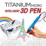 Titanium Micro RP600A Intelligent 3D Pen, USB 3D Printing Pen Compatible with PLA / ABS Filament + 3 Free 1.75mm Filament Refills (Blue)