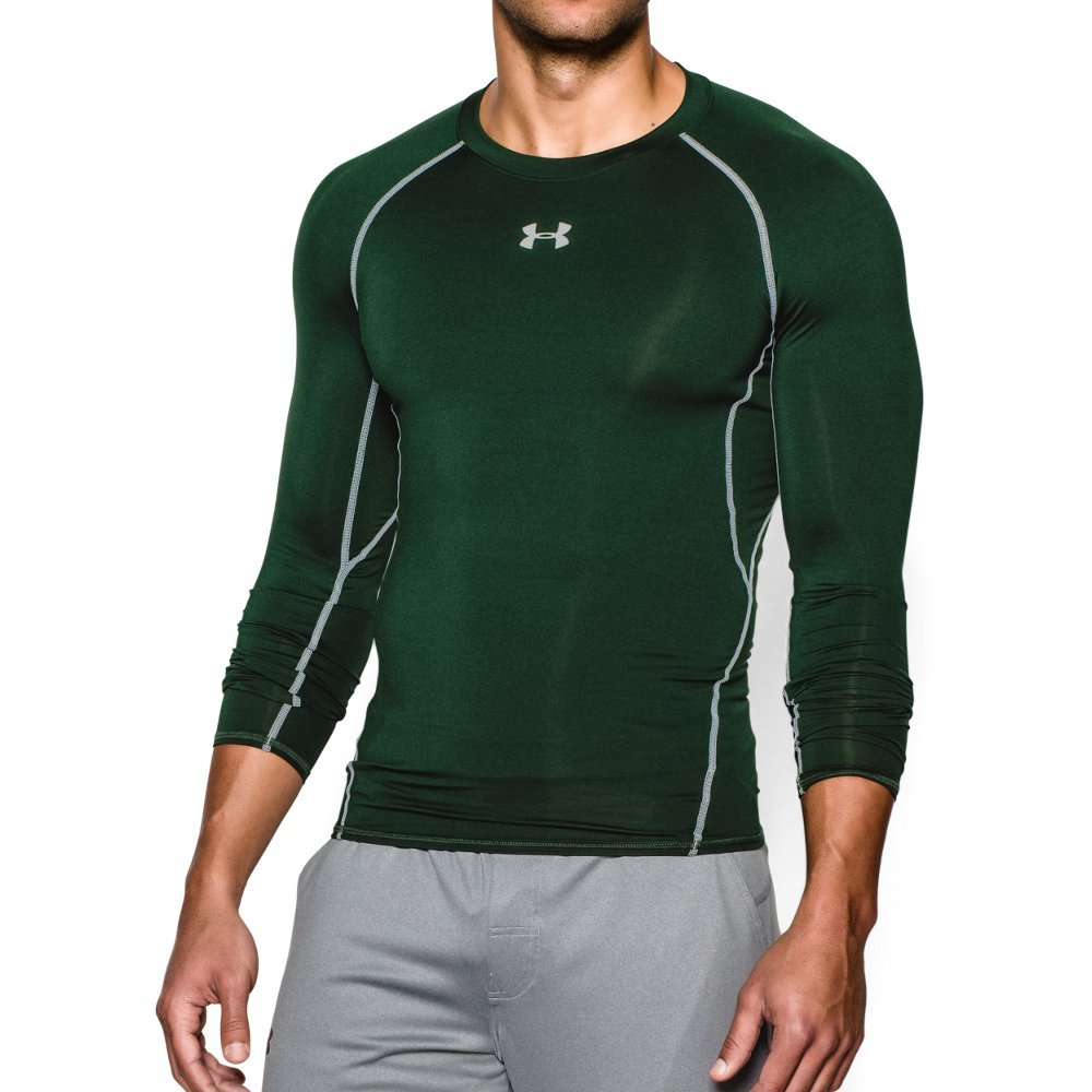 Under Armour Men's HeatGear Armour Long Sleeve Compression Shirt, Forest Green /White, Large