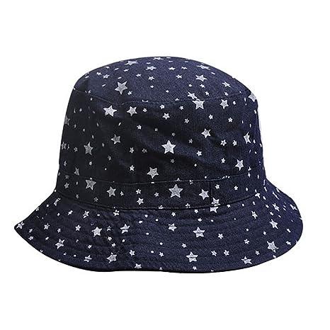 Amazon.com   Blue Cotton Breathable and Soft Bucket Hats Star ... dea62d4c7c87