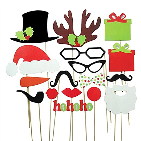 Veewon Noël Photo Booth Les accessoires pour Xmas Party Supplies 17pcs Kit  DIY Photobooth Lunettes Moustache 0ccff266be9