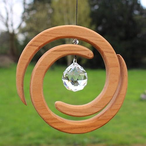 Fenster Deko Zum Aufhängen Helix Aus Holz Regenbogenkristall