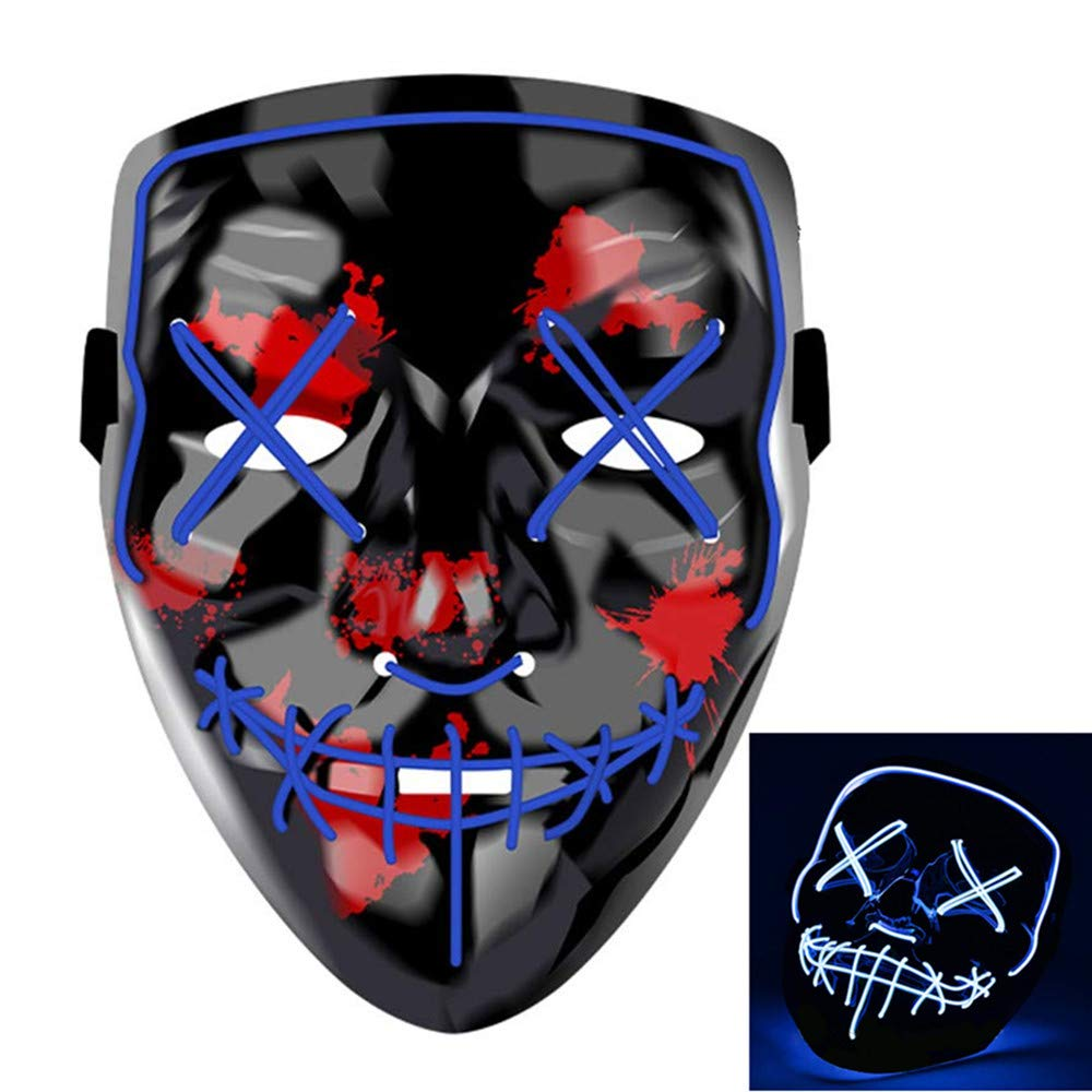Great LED Light-Up Mask for Halloween, Cosplay, Raves, etc. (Blue)
