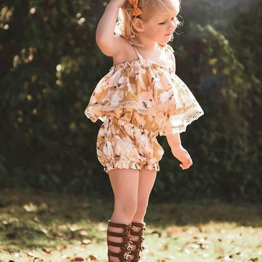 Easter Outfits Clothes,Toddler Baby Girl Sleeveless Floral Print Lace Vest Tops+Shorts Clothes Outfits
