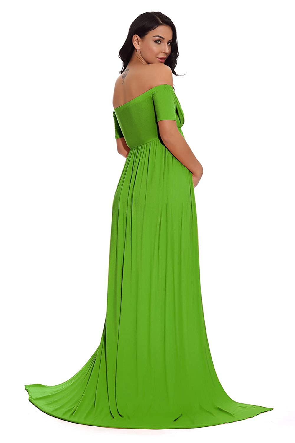 ZIUMUDY Maternity Off Shoulder Strapless Gown Split Front Maxi Photoshoot Photography Dress