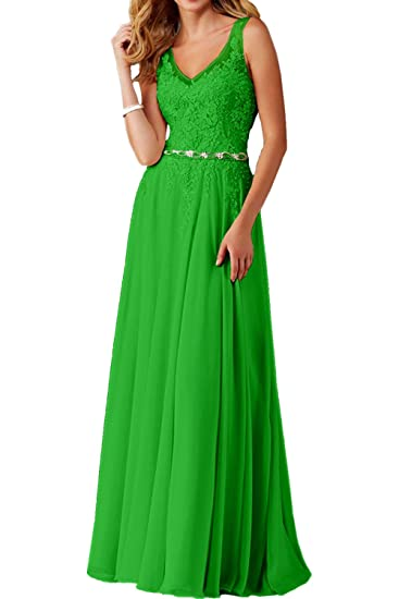 DressyMe Womens Evening Prom Dresses Long V-neck Applique-6-Apple Green