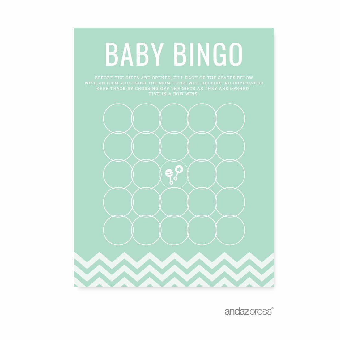 Andaz Press Mint Green Chevron Gender Neutral Baby Shower Collection, Games, Activities, Decorations, Baby Bingo Game Cards, 20-pack by Andaz Press