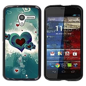 YOYOYO Smartphone Protección Defender Duro Negro Funda Imagen Diseño Carcasa Tapa Case Skin Cover Para Motorola Moto X 1 1st GEN I XT1058 XT1053 XT1052 XT1056 XT1060 XT1055 - patrón de corazón amor rojo carmesí verde