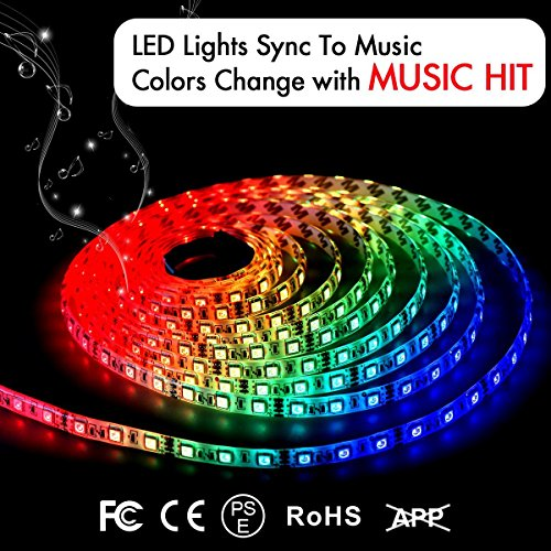 LED Strip Lights LED Lights Sync To Music 16.4Ft/5M LED Light Strip 300 LED Lights SMD 5050 Waterproof Flexible RGB Strip Lights IR Controller+12V 3A Power By DotStone (Diy Patio Bar Outdoor)