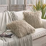 PHANTOSCOPE Decorative Set of 2 New Luxury Series Merino Style Fur Throw Pillow Case Cushion Cover 18'' x 18'' 45cm x 45cm Fur Beige