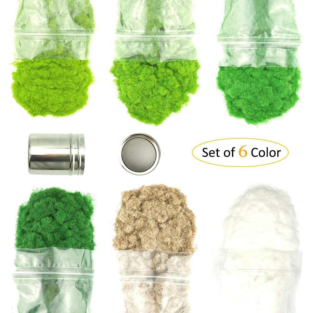 6 Packs of 3MM 50g Model Static Grass Powder Fake Grass for Miniature Terrain Landscape DIY Artificial Sand Table Scenery Railway Layout