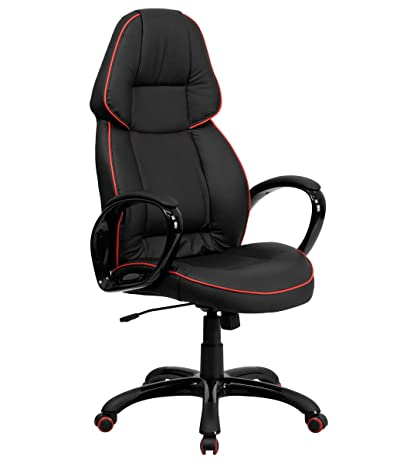 amazon com high back black vinyl executive office chair with red