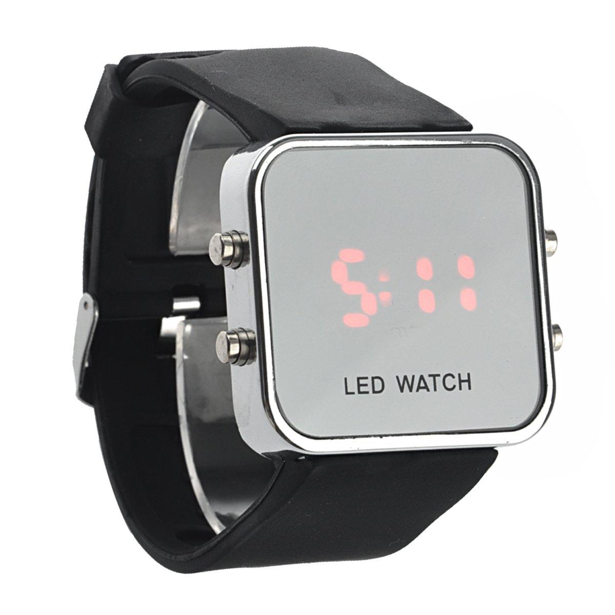 NICERIO Digital LED rojo unisex, reloj cuadrado de moda con esfera espejo para hombre Mujer, mantel incluido (negro): Amazon.es: Relojes
