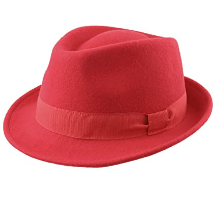 Classic Italy Trilby Wool Felt Trilby Hat Size 57 cm Red