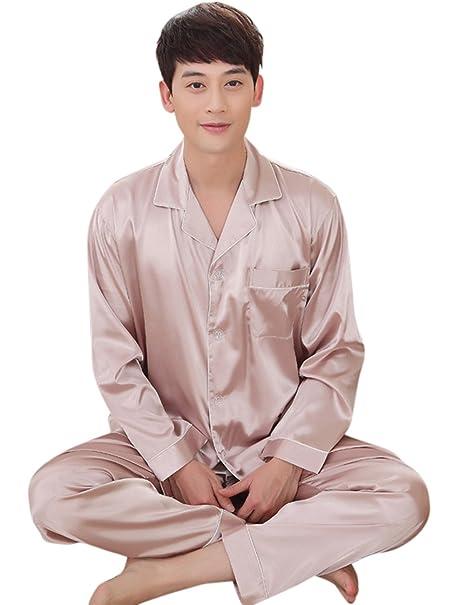 Qiyun Pijama de seda para las parejas, pijama de verano, Conjuntos de pijama de