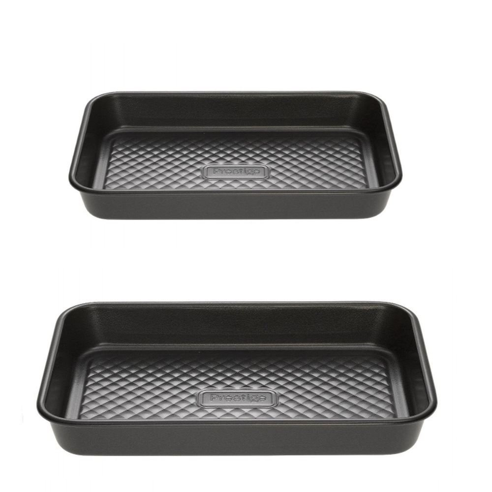 Prestige Inspire Non-Stick Set of 2 Small Baking Tray & Medium Baking Brownie Tin Tray