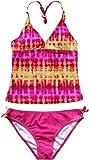 iEFiEL Girls 2 Pieces Tie Dye Halter Swimwear Tankini Sets Swimming Costume