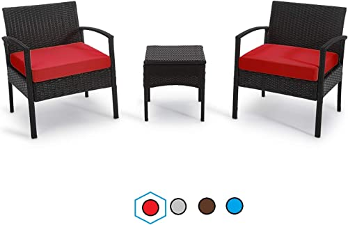 GREARDEN Patio 3 Pieces PE Rattan Wicker Chair Set, Garden Rattan Wicker Furniture Set Outdoor Indoor, 3 PCS Conversation Sets with Coffee Table for Balcony Backyard Red