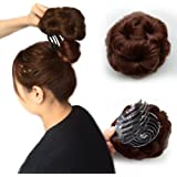 Beauty Angelbella Chignon Hairpiece Clip in Bun 100% Human Hair Extensions for Party(Brown,with a little red)