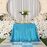 3E Home 60x60 Square Sequin TableCloth for Party Cake Dessert Table Exhibition Events, Turquoise
