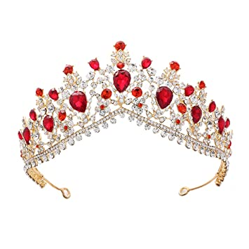 Red Crystal Tiaras Pageant Wedding Crowns Bridal Rhinestone Tiara Women Hairband