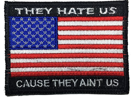 Patch Squad Men's USA Flag They Hate Us Cause They A'int Us Embroidered Patch (Black/Red White and Blue)