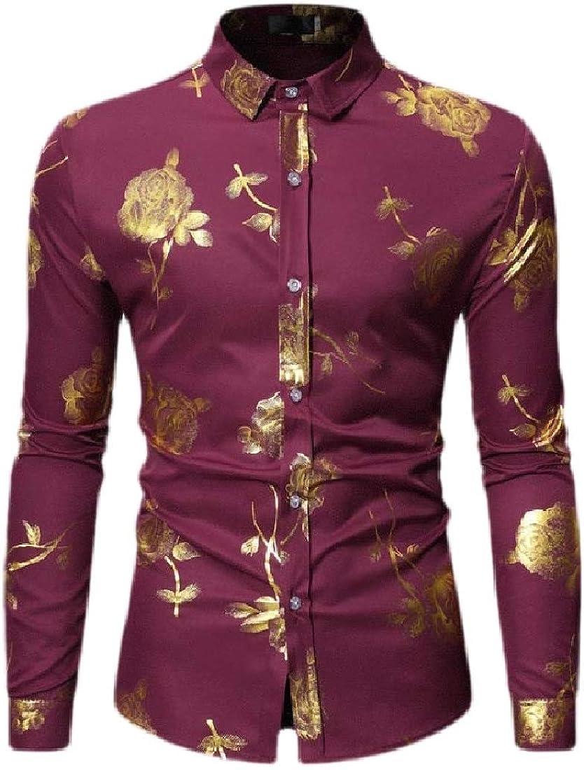Macondoo Mens Long Sleeve Lapel Print Tops Button Down Shirts