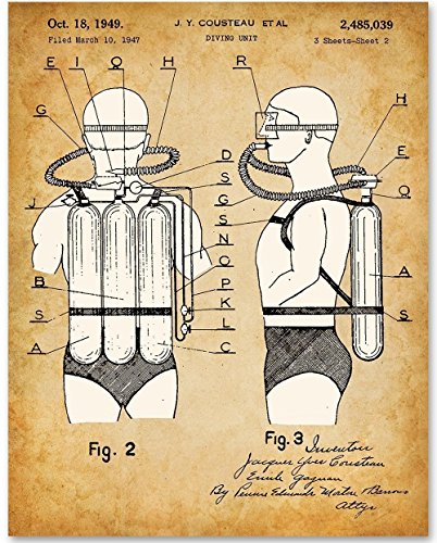 Jacques Cousteau Scuba Diving Tank Art - 11x14 Unframed Patent Print - Great Gift for Suba Divers - Diving Sign