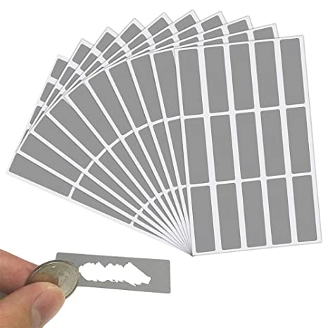 LYTIVAGEN 150 PCS Rasca Etiqueta, Rectángulo Gris Pegatina de Rascar, 4.8 * 1.5cm Tarjeta Rasca Etiqueta Pegatina