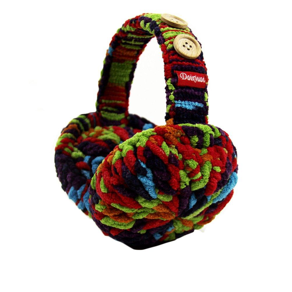 Rain's Pan Women Colorful Cute Winter Foldable Plush Knitted Big Earmuffs Earcap