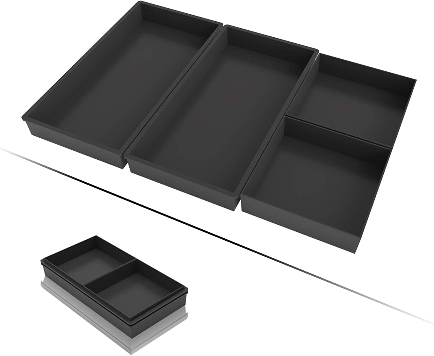 Baking Pans Set, Sheet Pan Dividers Silicone Baking Trays Nonstick Cooking Pans, Upgraded Oven Safe Heat Resistant Bakeware Accessories for Half Sheet Pan, Easily Clean Dishwasher Safe 4 Pcs Set